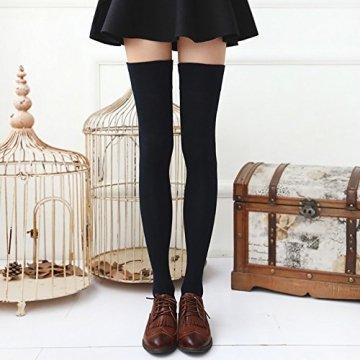 Chalier 3 Paar Kniestrümpfe Overknee Strümpfe Damen Lange Gestreifte Socken Thigh High Socks MEHRWEG - 4