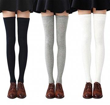 Chalier 3 Paar Kniestrümpfe Overknee Strümpfe Damen Lange Gestreifte Socken Thigh High Socks MEHRWEG - 1