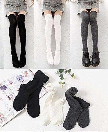 Chalier 3 Paar Kniestrümpfe Overknee Strümpfe Damen Lange Gestreifte Socken Thigh High Socks MEHRWEG - 5