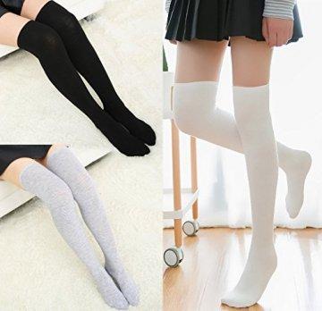 Chalier 3 Paar Kniestrümpfe Overknee Strümpfe Damen Lange Gestreifte Socken Thigh High Socks MEHRWEG - 6