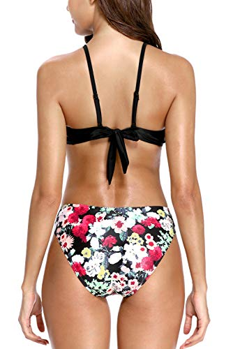 Charmo Damen Badeanzüge Tief Plunge Strappy Bademode Floral Cut Out Badeanzug Monokini Gepolstert Bluemen L - 2