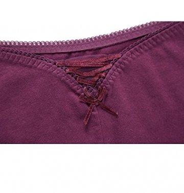 Charmo Damen Spitze Tangas Slips Cheeky Unterhosen Baumwolle Hipster Schleife Unterwäsche 4er Pack, Schwarz x 2/Marineblau/Violett, M - 5