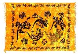Ciffre Sarong Pareo Wickelrock Strandtuch Tuch Wickeltuch Handtuch Gratis Schnalle Schließe Gecko Orange Schwarz - 1