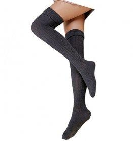 Cindeyar 1 Paar Damen Overknee Strümpfe Lange Kniestrümpfe Retro Schüler Überknie Strick Socken (Dunkelgrau) - 1