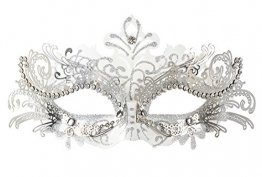 Coxeer Damen Maskerade Maske Schmetterling Form Laser Schneiden Metall Karneval Maske Rosenmontag (Black & Silver) - 1