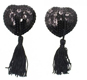 Creamlin Sequin Pasties für Womens Lingerie Brust Blütenblatt Pasty Kleber wiederverwendbar mit Quaste (Schwarz) - 1
