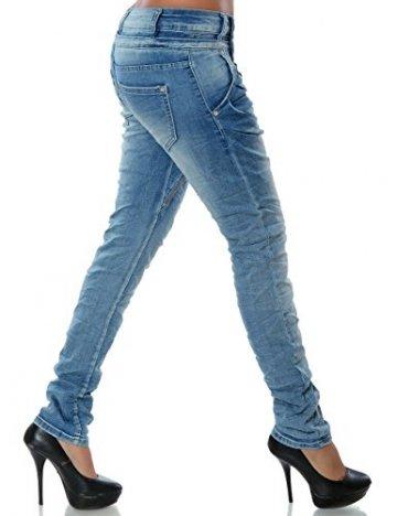 Daleus Damen Boyfriend Jeans Hose Reißverschluss Knopfleiste No 14145 Hellblau 42 / XL - 3