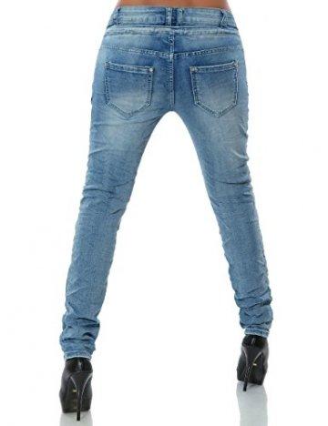 Daleus Damen Boyfriend Jeans Hose Reißverschluss Knopfleiste No 14145 Hellblau 42 / XL - 4