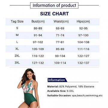 Damen Badeanzug V-Ausschnitt Monokini Neckholder Rückenfrei Einteiliger Bademode Bedruckt Sexy Cutouts Bauchweg Bikini Schwarz S - 4
