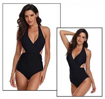 Damen Badeanzug V-Ausschnitt Monokini Neckholder Rückenfrei Einteiliger Bademode Bedruckt Sexy Cutouts Bauchweg Bikini Schwarz S - 5