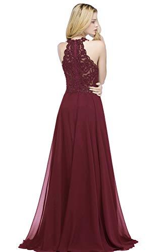 Damen Ballkleid Bordeaux lang elegant A-Linie Chiffon ...