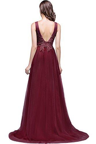 Damen Elegant Spitzen Abendkleid Festkleider Tüllkleid Applique lang Weinrot 40 - 2
