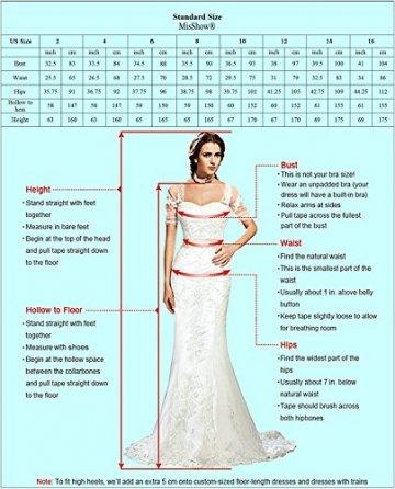 Damen Elegant Spitzen Abendkleid Festkleider Tüllkleid Applique lang Weinrot 40 - 3