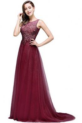 Damen Elegant Spitzen Abendkleid Festkleider Tüllkleid Applique lang Weinrot 40 - 1