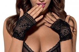 Damen elegante Handschuhe schwarz Spitzen Stulpen elastisch transparent OneSize - 1