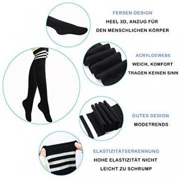 Damen Kniestrümpfe - Overknee Strümpfe Streifen Lange Socken Retro Knitting Strümpfe Mädchen Cheerleader Sportsocken Baumwollstrümpfe (Schwarz-Schwarz1) - 3