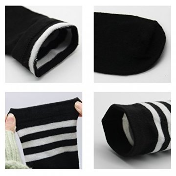 Damen Kniestrümpfe - Overknee Strümpfe Streifen Lange Socken Retro Knitting Strümpfe Mädchen Cheerleader Sportsocken Baumwollstrümpfe (Schwarz-Schwarz1) - 4