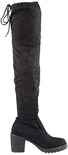 Damen Schuhe Stiefel Overknees Langschaft Boots Blockabsatz High Heels 127266 Schwarz Schwarz 37 Flandell - 6
