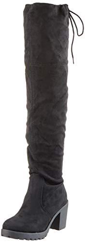 Damen Schuhe Stiefel Overknees Langschaft Boots Blockabsatz High Heels 127266 Schwarz Schwarz 37 Flandell - 1