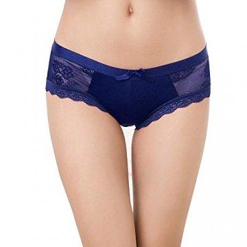Damen Sexy Spitze Unterwäsche Panties Hipster Soft Slips lace Höschen Dessous Niedrige Taille Glamour Slips Damen 5er Pack/6 Pack, Art-3, XL - 2