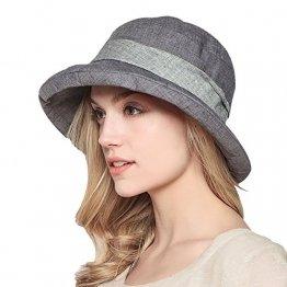 Damen Sommer Strand Hat Eimer Hut Fedorahüte großer Rand-Anti-UV Sonnenhut Faltbarer Sonnenhut (Gray) - 1