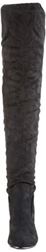 Damen Stiefel Schleifen Overknees Veloursleder-Optik Langschaftstiefel Boots Schuhe 130732 Schwarz Black 37 Flandell - 4