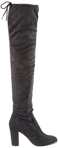 Damen Stiefel Schleifen Overknees Veloursleder-Optik Langschaftstiefel Boots Schuhe 130732 Schwarz Black 37 Flandell - 6
