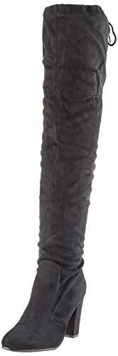 Damen Stiefel Schleifen Overknees Veloursleder-Optik Langschaftstiefel Boots Schuhe 130732 Schwarz Black 37 Flandell - 1