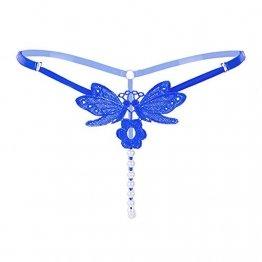 Damen String Perlenstring Schmetterling String Dessous mit Perlen (blau) - 1