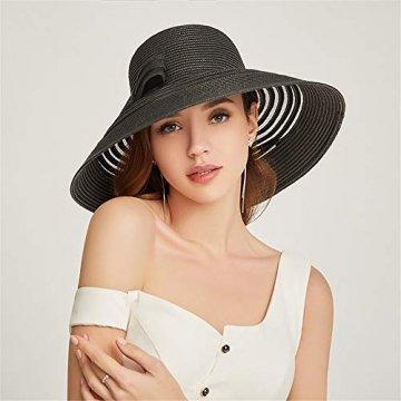 Damenhüte Stilvolle und Elegante Strohhüte Faltbare Sonnenhüte UV-Strandhüte am Strand Streifenmuster Vier Farben zur Auswahl,Black - 2