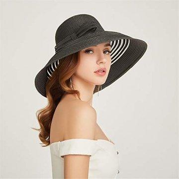 Damenhüte Stilvolle und Elegante Strohhüte Faltbare Sonnenhüte UV-Strandhüte am Strand Streifenmuster Vier Farben zur Auswahl,Black - 1