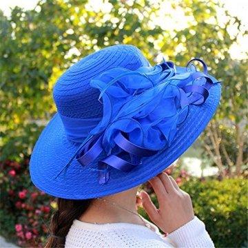 Damenhut Frühling und Sommer Mesh Visier Organza Blume Temperament Hochzeit Hut Dome breitkrempigen Sonnenhut Hochwertige Baumwolle,Blue - 2