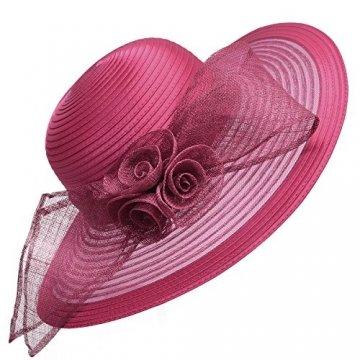 Damenhut von Lawliet, für Kirche, Hochzeit, Kentucky Derby, breite Krempe, Sonnenhut, formeller, königlicher Ascot-Hut Gr. Einheitsgröße, burgunderfarben - 1
