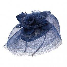 Deevoov - Kopfschmuck für Damen, Alice, mit Blumen und Federn aus Sinamay, Fascinator für Hochzeiten, königliche Pferderennen in Ascot, Cocktailpartys, Pillbox-Hut, Melone Gr. Einheitsgröße, blau - 1