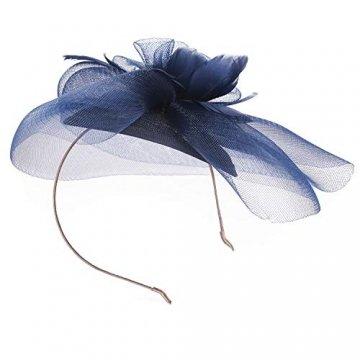 Deevoov - Kopfschmuck für Damen, Alice, mit Blumen und Federn aus Sinamay, Fascinator für Hochzeiten, königliche Pferderennen in Ascot, Cocktailpartys, Pillbox-Hut, Melone Gr. Einheitsgröße, blau - 4