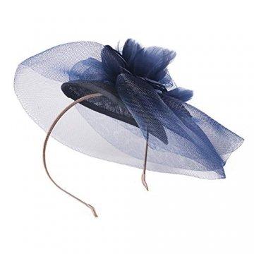 Deevoov - Kopfschmuck für Damen, Alice, mit Blumen und Federn aus Sinamay, Fascinator für Hochzeiten, königliche Pferderennen in Ascot, Cocktailpartys, Pillbox-Hut, Melone Gr. Einheitsgröße, blau - 5