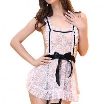 Deluxe Sexy Dienstmädchen-Kostüm für Damen, 3 Teiliges Set inkl. Schürze, Haube und String, S-L - 1