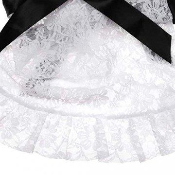 Deluxe Sexy Dienstmädchen-Kostüm für Damen, 3 Teiliges Set inkl. Schürze, Haube und String, S-L - 8