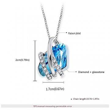 DEQIAODE Eleganter silberner hellblauer Kristallschmuck-Set für Damen Ohrringe und Halskette,C - 2