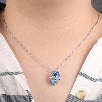 DEQIAODE Eleganter silberner hellblauer Kristallschmuck-Set für Damen Ohrringe und Halskette,C - 3