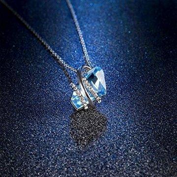 DEQIAODE Eleganter silberner hellblauer Kristallschmuck-Set für Damen Ohrringe und Halskette,C - 4