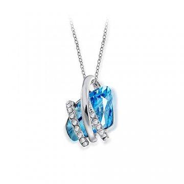 DEQIAODE Eleganter silberner hellblauer Kristallschmuck-Set für Damen Ohrringe und Halskette,C - 1