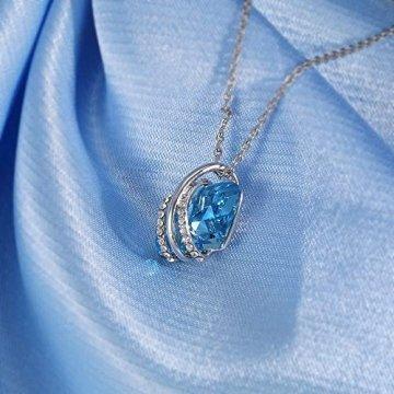 DEQIAODE Eleganter silberner hellblauer Kristallschmuck-Set für Damen Ohrringe und Halskette,C - 5