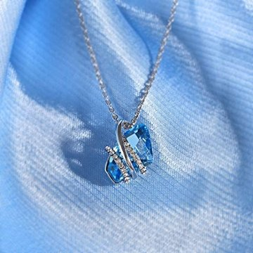 DEQIAODE Eleganter silberner hellblauer Kristallschmuck-Set für Damen Ohrringe und Halskette,C - 6