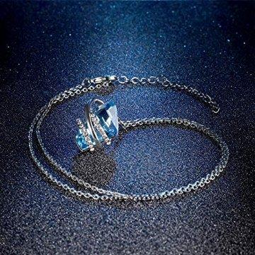 DEQIAODE Eleganter silberner hellblauer Kristallschmuck-Set für Damen Ohrringe und Halskette,C - 7