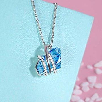DEQIAODE Eleganter silberner hellblauer Kristallschmuck-Set für Damen Ohrringe und Halskette,C - 8