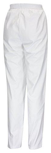 DESERMO® Schwesternhose Schlupfhose mit Gummibund aus reiner Baumwolle   Pflegerhose   bequeme Medi Hose - Gr. 38, Weiß - 3