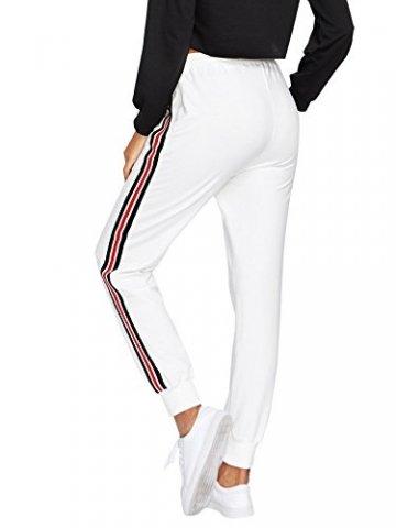 DIDK Damen Hosen Sporthose Casual Streifen Sweathose Elastischer Bund Jogginghose mit Taschen Weiß S - 2