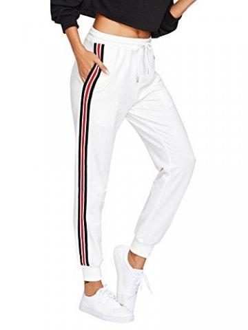 DIDK Damen Hosen Sporthose Casual Streifen Sweathose Elastischer Bund Jogginghose mit Taschen Weiß S - 1