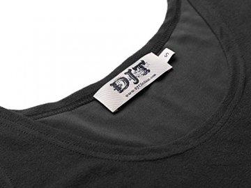 DJT Damen Vintage Sommerkleid Traeger mit Flatterndem Rock Blumenmuster Schwarz-2 M - 3